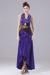 2013 High-low Prom Dress with Beading and Ruche in Purple