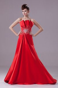 A-line Red Prom Dress with Beading and Brush Train in Satin