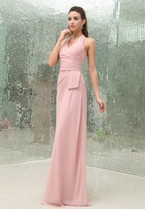 Chic Brush Train Halter Light Pink Chiffon Prom Gown under 150
