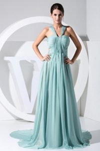 Ruched Light Blue Prom Dress with Watteau Train in Chiffon