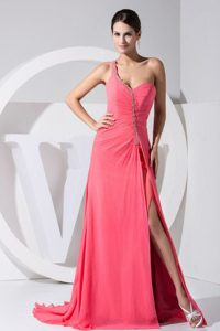 2013 Prom Dress with One Shoulder Strap in Watermelon Red