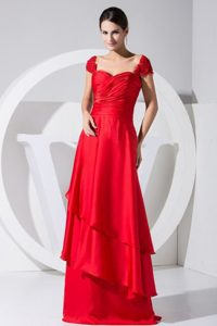 Off-the-shoulder Red Layers Holiday Dress Ruched Prom Dress