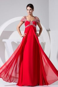 Cheap Cap Sleeves 2013 Red Prom Gown Dress with Appliques