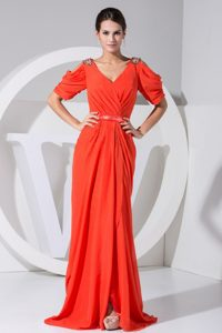 2013Short Sleeves Ruched 2013 V-neck Beading Prom Dress