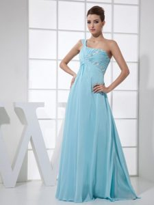 One Shoulder Beaded Ruche light Blue Prom Dress in Strasbourg