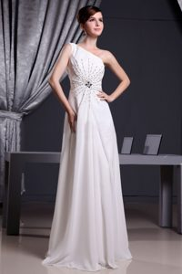 White Custom Made One Shoulder Beaded Chiffon Prom Dress