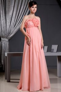 Cheap Watermelon Elegant Prom Dress With Hand Made Flowers