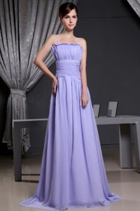 Modest 2013 Lilac Pleated Prom Gown Dress with Straps