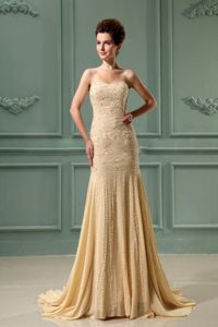 Beading Mermaid Chiffon Sweetheart Court Train Prom Dress