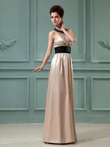 Discount Champagne Column Belt Floor-length Halter Prom Dress