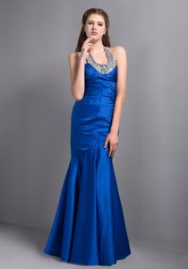 2013 Customize Royal Blue Beaded Halter Mermaid Prom Gown