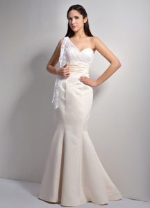 Classical Off White Mermaid One Shoulder Prom Gown Dress