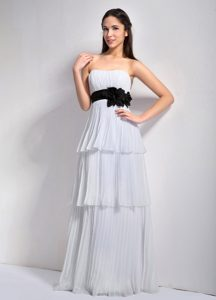 White Empire Strapless Ruched Layers Chiffon Prom Dress