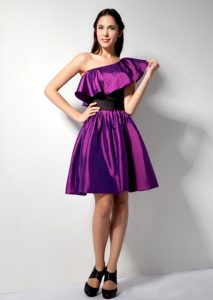 The Most Popular Eggplant Purple Short One Shoulder Prom Dress