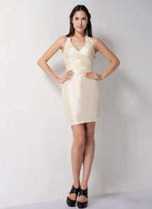 Customize Champagne Column Short Halter Taffeta Prom Dresses