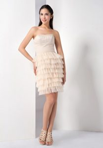 Beautiful Champagne Ruffled Layers Strapless Short Prom Dress