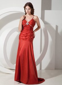 Custom Made Red Straps Ruched Beading Taffeta Prom Gown Dress