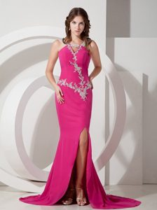 Customize Hot Pink Mermaid Appliques Sweep Chiffon Prom Dresses