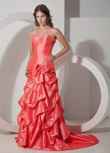 A-line Taffeta Sweetheart Bowknot ruched Prom Dress Brush Train