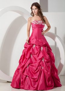 Popular A-line Strapless Appliques Taffeta Prom Dress Pick-ups