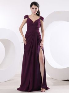 Beautiful High Slit Sexy Purple Prom Dress With Cap Sleeves