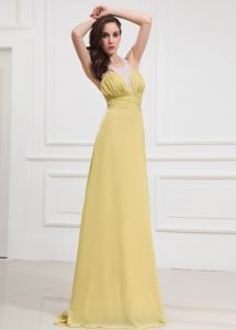 Halter Column Prom Dress Chiffon Floor-length Yellow Criss Cross