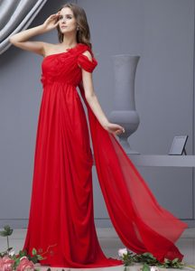 Red Prom Dress With One Shoulder Watteau Train Chiffon