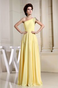 Beaded Decorate One Shoulder Yellow Simple Prom Dress