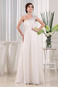 Beading One Shoulder Floor-length White A-line Evening Dress