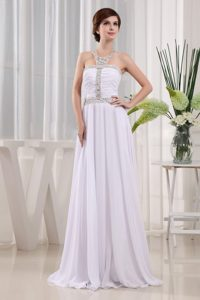Ruched Beading Floor-length Chiffon Prom Dress White Color