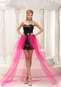 High-low Prom Celebrity Dress Black Paillette Over Skirt With Beading