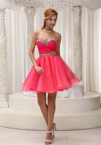 Beading Decorate A-line Short Prom Cocktail Dress Organza