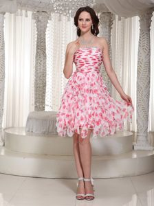 Beautiful Printing Fabric Strapless and Layer Prom Party Dress