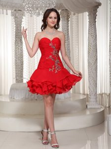 Princess Short Ruches and Beading Decorate Homecomimg Dress