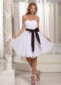 Simple Sash Ruch Bodice Organza Knee-length Prom Dress 2014