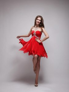 Sweetheart Empire Mini-length Chiffon Beading Prom Dress in Red