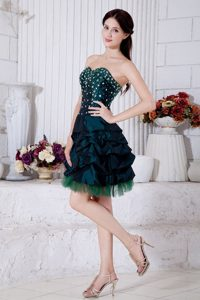 Princess Sweetheart Teal Mini-length Beading Dresses For Debutante Ball