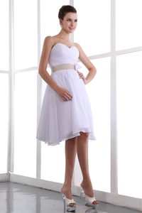 A-line Sweetheart Chiffon White Prom Court Dresses with Hand Flower