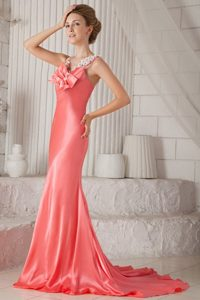 Watermelon Spaghetti Straps Brush Train Beading Prom Dresses