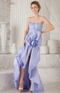 Lilac Mermaid Sweetheart Asymmetrical Taffeta Ruch Prom Dress