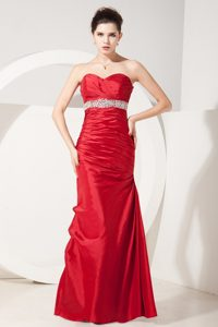Beading Decorate Ruched Floor-length Prom Evening Dress