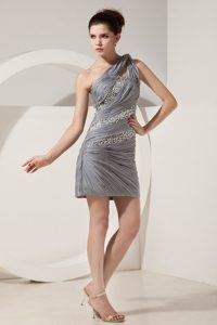Column One Shoulder Short Dress Mini-length Chiffon Beading