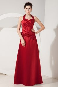Halter Sweetheart Ruched Floor-length Evening Dress