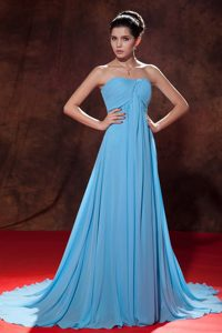 Lovely Aqua Blue Empire Strapless Evening Dress Court Tain Ruches
