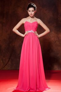 Coral Red Empire Celebrity Dress Sweetheart Chiffon Beading