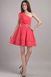 Coral Red A-line One Shoulder Mini-length Chiffon Cocktail Dress