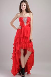 Red Empire Sweetheart High-low Organza Beading Layer Prom Dress