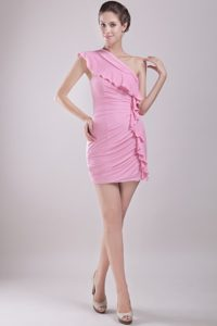 Column Unique One Shoulder Mini-length Chiffon Ruch Cocktail Dress
