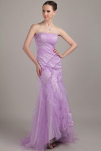 Lavender Mermaid Strapless Brush Train Tulle Ruch Prom Dress