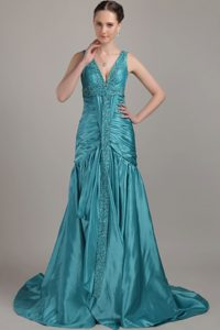 Cheap A-line V-neck Teal Prom Gown Dress with Ruche Beading